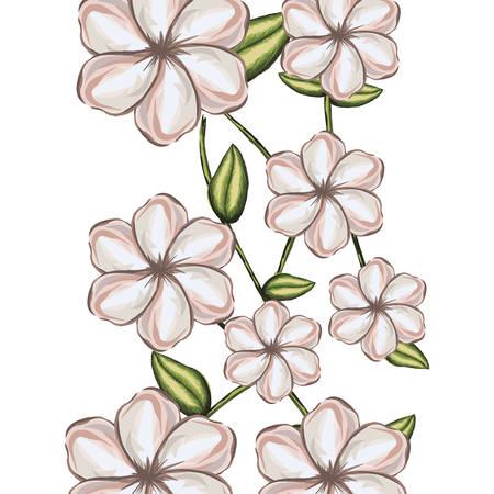 acuarela de fondo blanco malva flor con tallo y hojas ilustración vectorial