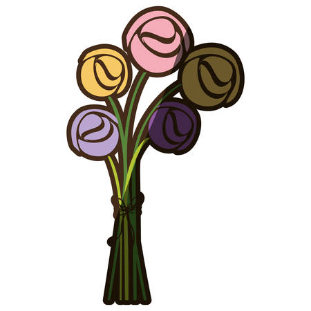 Colorful silhouette shading of bouquet roses vector illustration