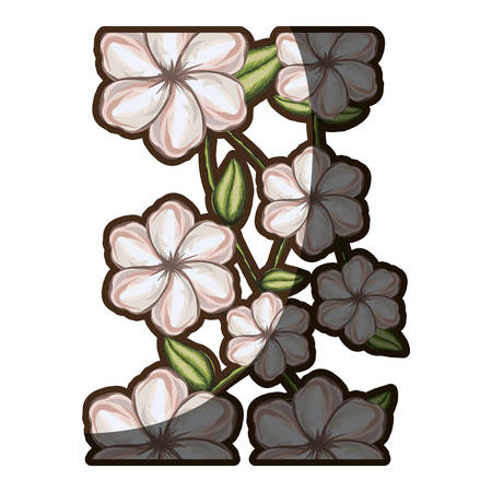 A watercolor background of white malva flower with stem and leaves vector illustration Illustration