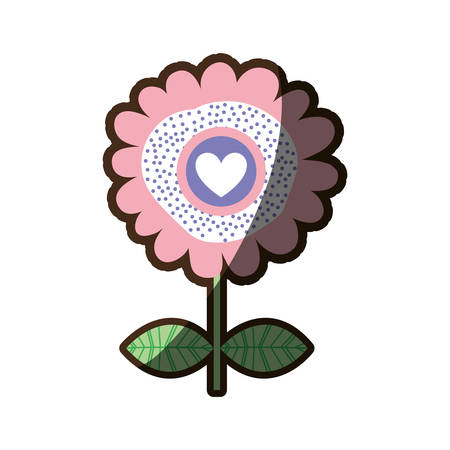 A colorful silhouette shading of flower with heart inside vector illustration