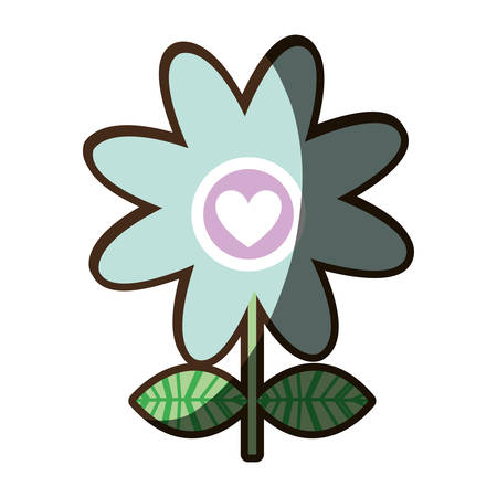 colorful silhouette shading of daisy flower with heart inside vector illustration