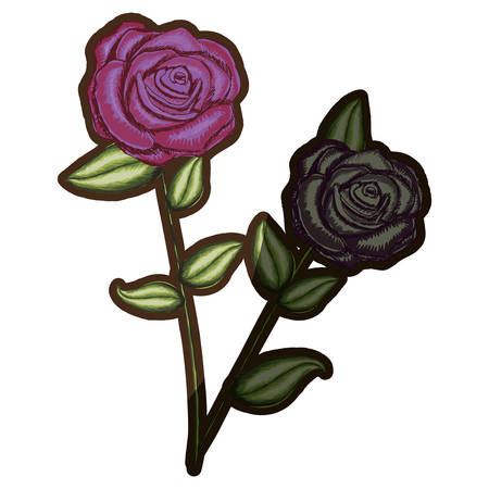 A pair realistic flowered rose and withered rose with leaves and stem vector illustration Illustration