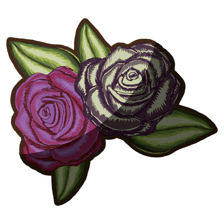 a pair realistic flowered rose and withered rose with leaves vector illustration