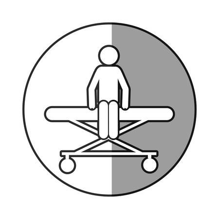sick bed: A circular frame shading with pictogram patient in stretcher clinical vector illustration
