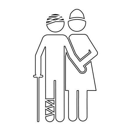 Silhouette pictogram nurse with bandaged patient vector illustration