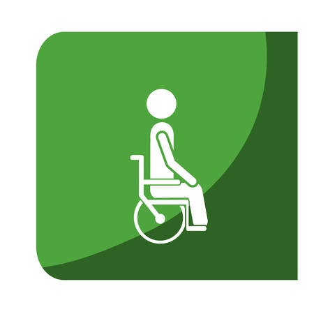 color square frame with pictogram person in wheelchair vector illustration