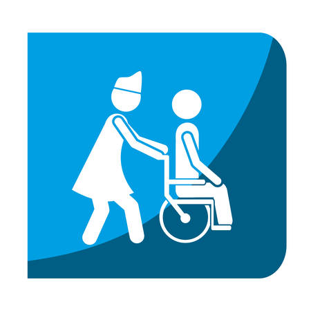 color square frame with nurse helping to person in wheelchair vector illustration Illustration