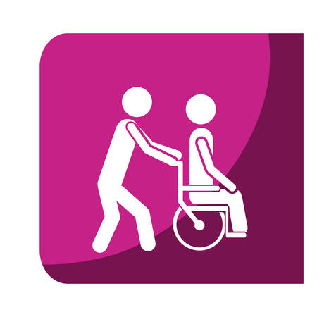 color square frame with person helping another push a wheelchair vector illustration