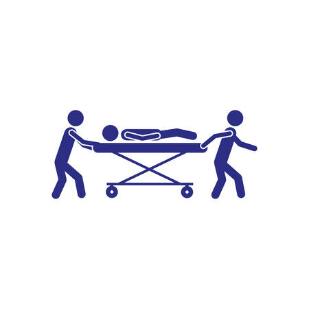 white background with blue pictogram paramedics with patient in stretcher vector illustration