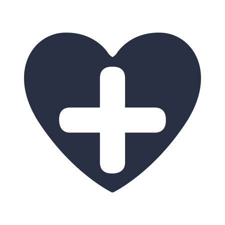 white background with dark blue heart and cross inside vector illustration Иллюстрация