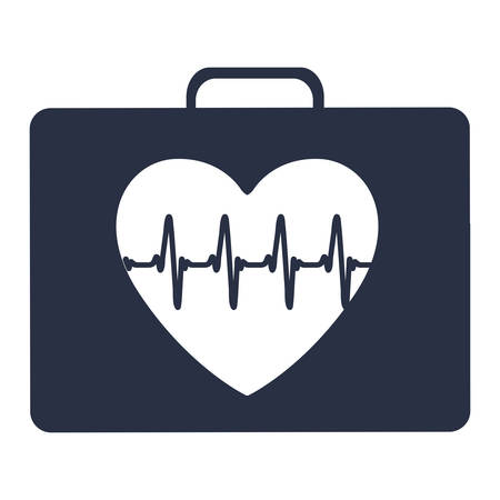 white background with dark blue first aid kit for heart health vector illustration