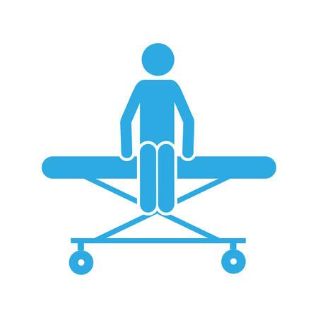 paciente en camilla: el paciente del pictograma de la silueta del color se sienta en la ilustración del vector clínico del ensanchador
