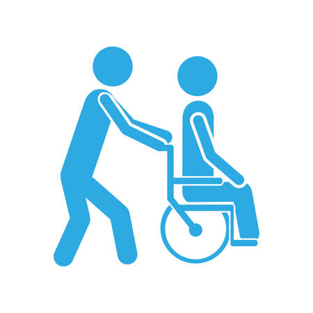 rehab: color silhouette person helping another push a wheelchair vector illustration