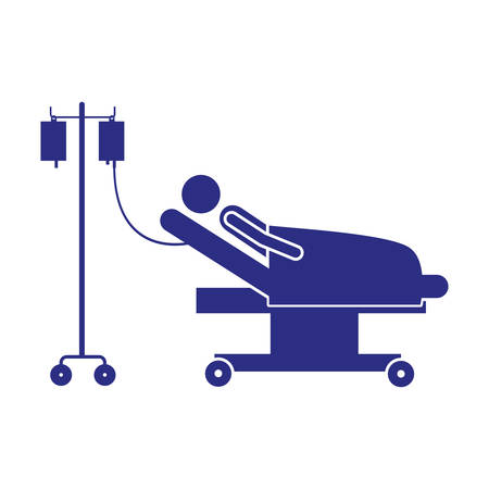 color silhouette pictogram person hospitalized in clinical bed vector illustration