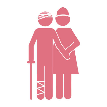 color silhouette pictogram nurse with bandaged patient vector illustration