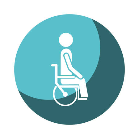 color circular frame shading with person sitting in abstract wheelchair flat icon vector illustration Illustration