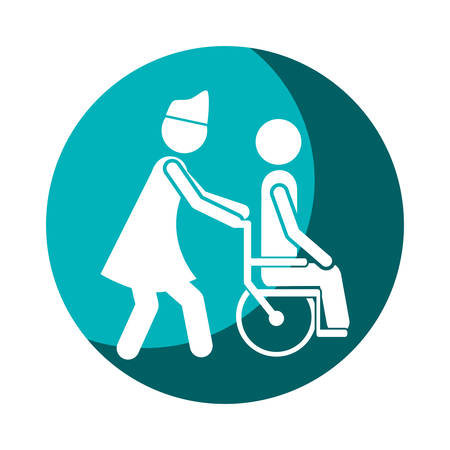 color circular frame shading with nurse helping another person push a wheelchair vector illustration Illustration