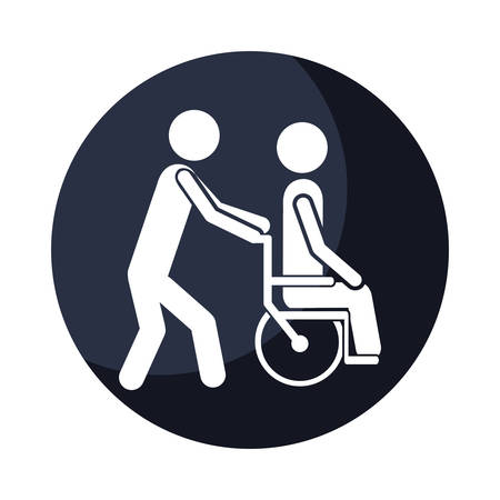rehab: color circular frame shading with person helping another push a wheelchair vector illustration