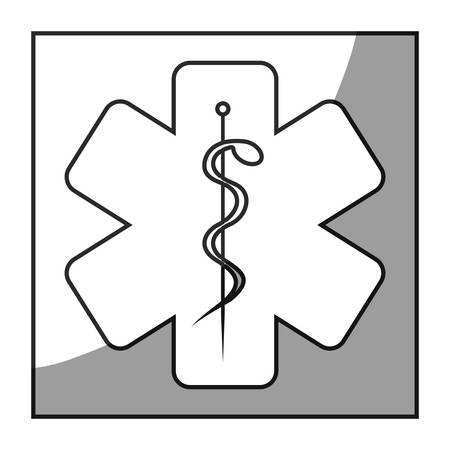 grayscale square frame shading with health symbol star of life vector illustration Illustration