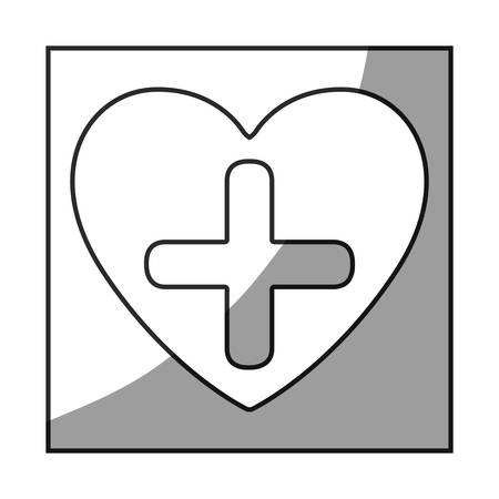 grayscale square frame shading with heart and cross vector illustration Ilustração