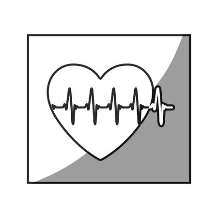 grayscale square frame shading with heartbeat vector illustration