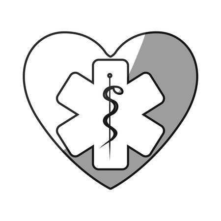 aesculapius: grayscale silhouette with symbol of heart with star of life inside vector illustration