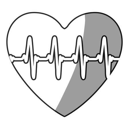 grayscale silhouette with icon of heartbeat vector illustration