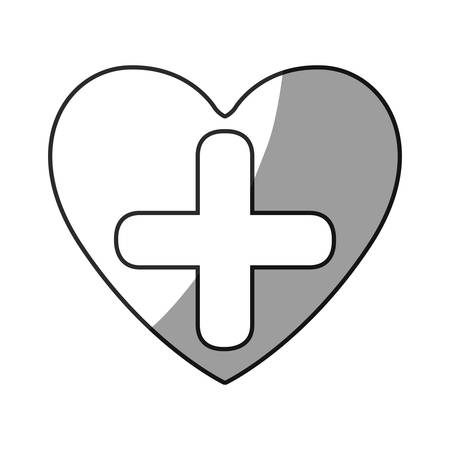 grayscale silhouette of heart with cross inside vector illustration Иллюстрация