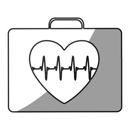 grayscale silhouette with first aid kit for heart health vector illustration Ilustração