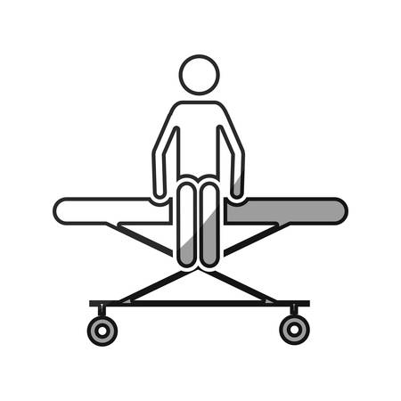 paciente en camilla: grayscale silhouette with pictogram patient sit in stretcher clinical vector illustration