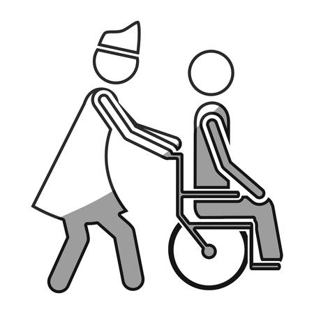 impairment: grayscale silhouette with nurse helping another person push a wheelchair vector illustration