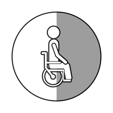 round chairs: grayscale circular frame shading with person sitting in wheelchair vector illustration