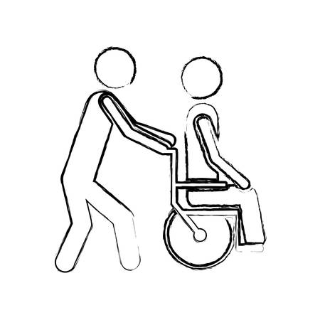 rehab: blurred silhouette person helping another push a wheelchair vector illustration