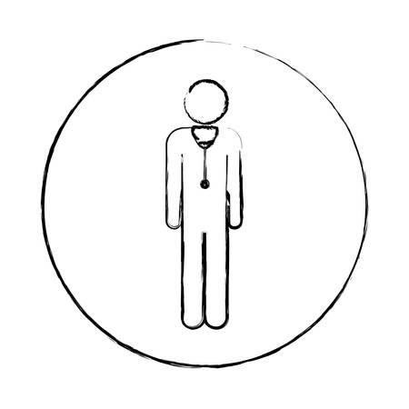 surgeon mask: Blurred circular frame silhouette pictogram male doctor with stethoscope vector illustration.