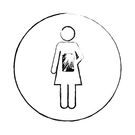 medical symbol: Blurred circular frame silhouette pictogram female with remedy bottle vector illustration