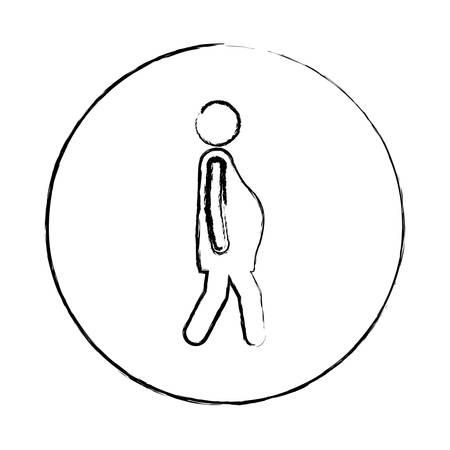 medical symbol: blurred circular frame silhouette pictogram woman pregnant walking vector illustration