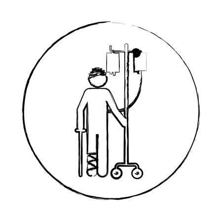Blurred circular frame silhouette pictogram bandage patient hospitalized vector illustration