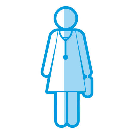 medical symbol: blue shading silhouette pictogram female doctor with stethoscope vector illustration