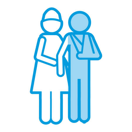 Blue shading silhouette pictogram nurse with bandaged arm patient vector illustration Illustration