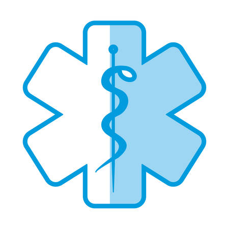 blue shading silhouette with health symbol with star of life vector illustration