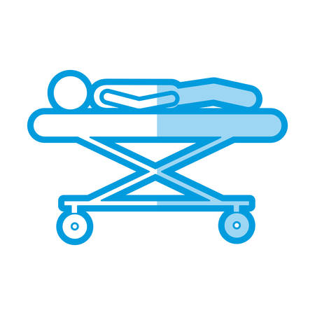 blue shading silhouette pictogram lay down patient in stretcher clinical vector illustration Illustration