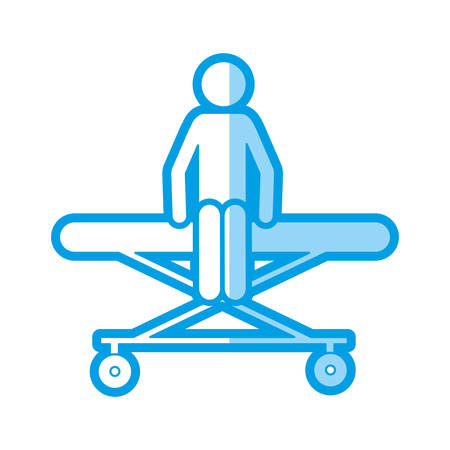 medical symbol: blue shading silhouette with pictogram patient sit in stretcher clinical vector illustration