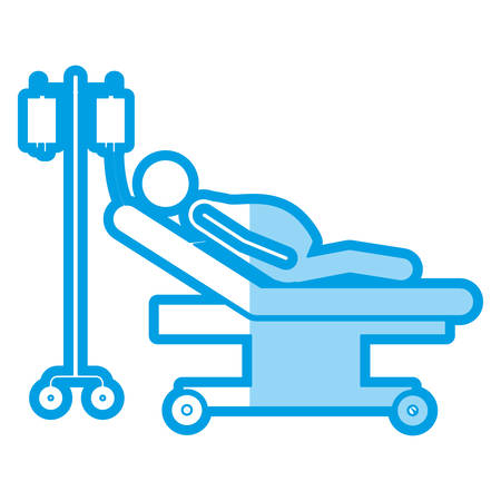 paciente en camilla: blue shading silhouette with pregnant woman in stretcher clinical vector illustration Vectores