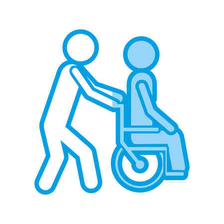 paraplegico: blue shading silhouette with person helping another push a wheelchair vector illustration