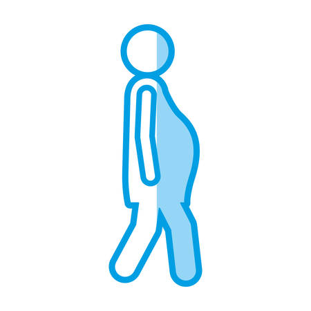 blue shading silhouette with pictogram woman pregnant walking vector illustration Illustration