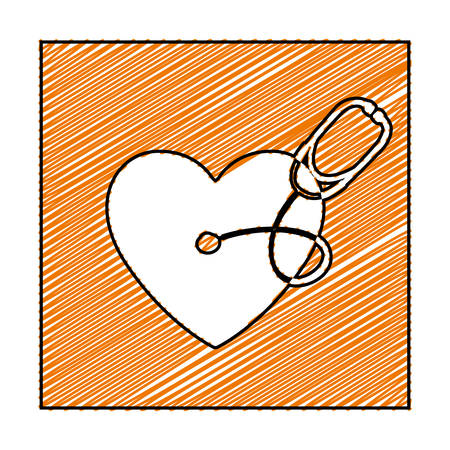 pulsating: Color pencil drawing square frame with heart and stethoscope vector illustration