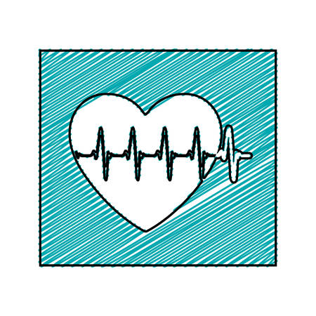 color pencil drawing square frame with heartbeat vector illustration Illustration