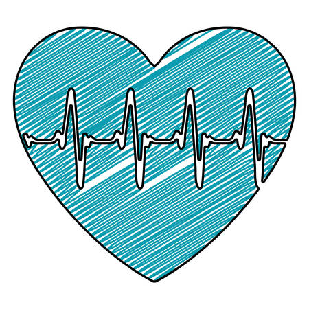 color pencil drawing of heartbeat icon vector illustration
