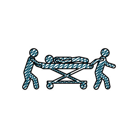 hospital stretcher: color pencil drawing of pictogram paramedics with patient in stretcher vector illustration Illustration