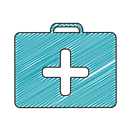 medical symbol: color pencil drawing of symbol of first aid kit with cross vector illustration